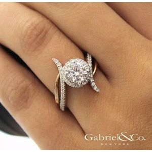 925 silver gold filled white topaz ring size 8